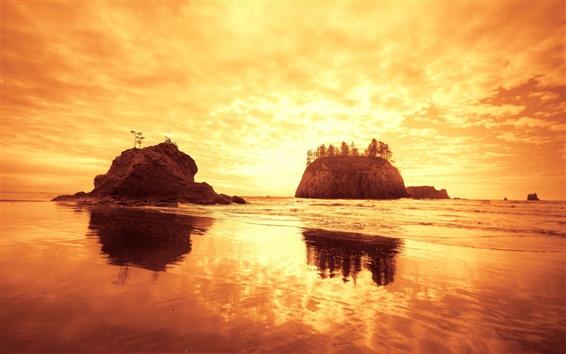 Wallpaper Beach, island, sea, clouds, golden sunset