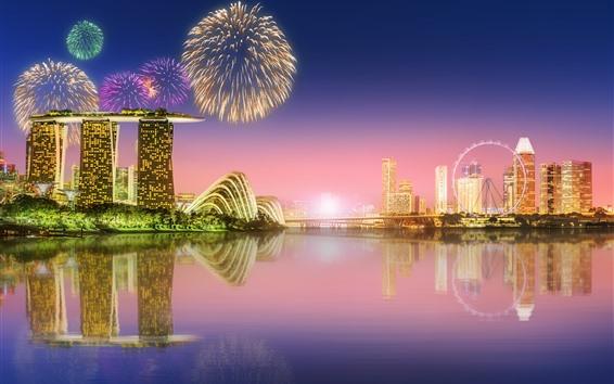배경 화면 밤, 불꽃 놀이, 고층 빌딩, 조명, 강, 반사에 아름 다운 싱가포르 도시