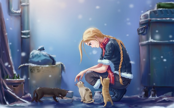 Wallpaper Blonde girl and cat, snowy, anime