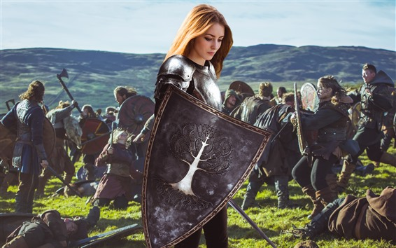 Fond d'écran Fille blonde, guerrier, armure, guerre