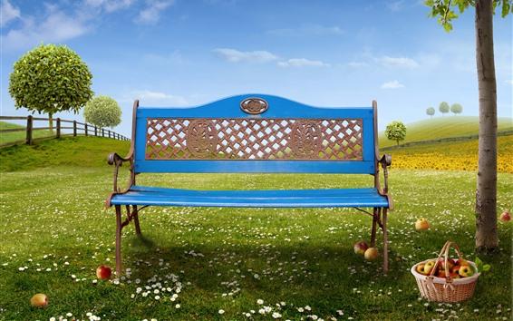 Wallpaper Blue bench, apples, basket, tree, green grass