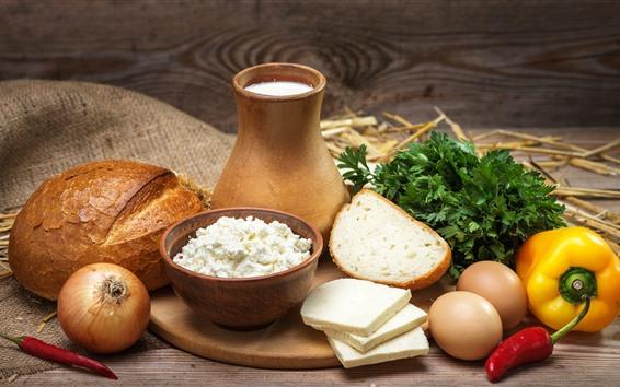Papéis de Parede Pão, queijo, leite, cebola, pimentão, ovos