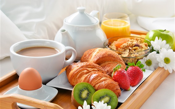 Wallpaper Breakfast, croissant, strawberry, coffee, kiwi, eggs