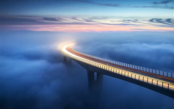 Wallpaper Bridge, fog, clouds, light lines, height, morning