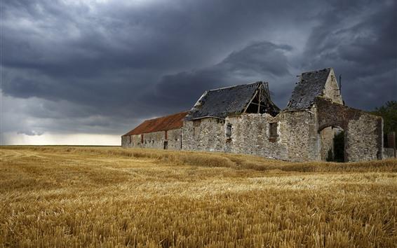 배경 화면 깨진 집, 들판, 구름