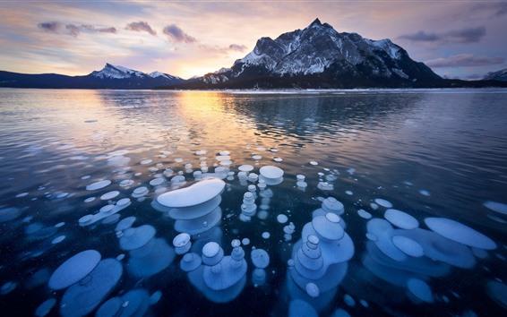Papéis de Parede Canadá, cline, rio, neve, gelo, montanhas, amanhecer
