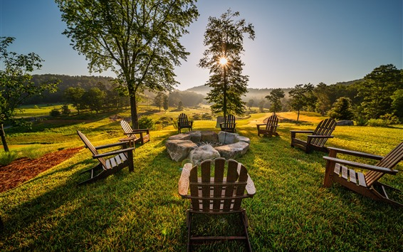 Papéis de Parede Cadeiras, pedras, árvores, manhã, raios de sol