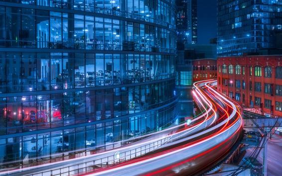 Hintergrundbilder Chicago, Stadtnacht, helle Linien, Gebäude, USA