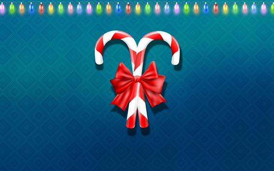 Обои Рождественские конфеты, красочные праздничные огни, векторный дизайн