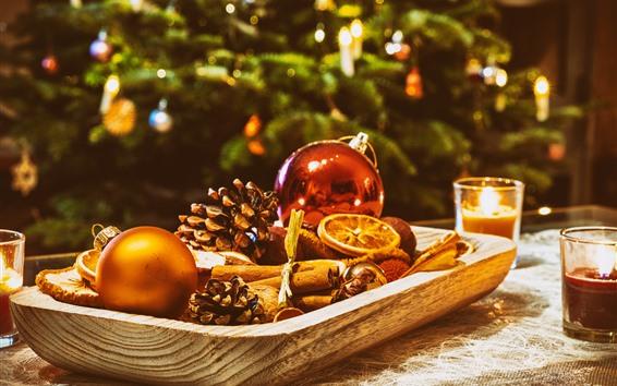 Wallpaper Christmas decoration, balls, candles