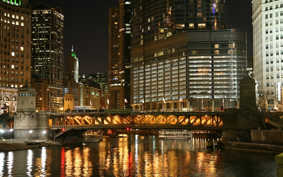 Fondos de pantalla Ciudad, noche, edificios, río, puente, luces