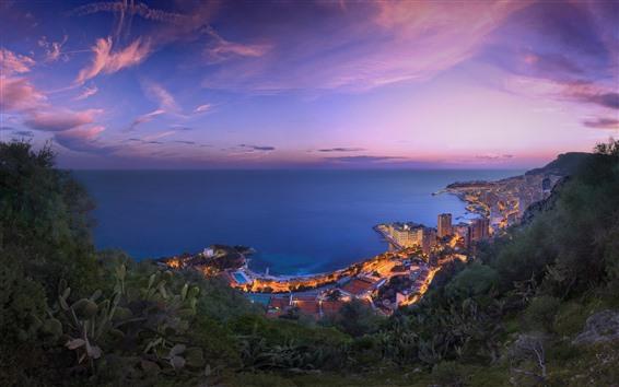 Papéis de Parede Costa, mar, cidade, céu, nuvens, Crepúsculo