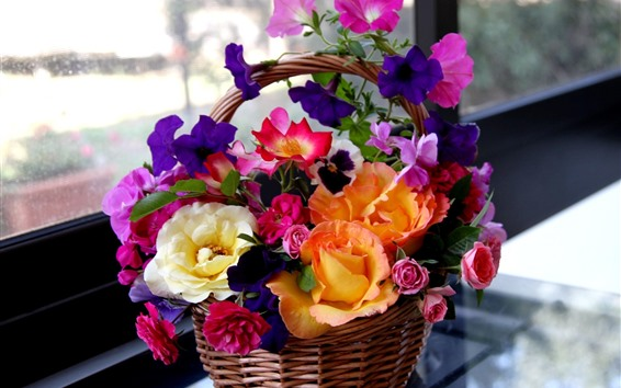Wallpaper Colorful flowers, basket, windows