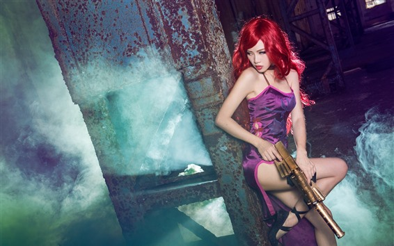 Wallpaper Cosplay girl, red hair, gun