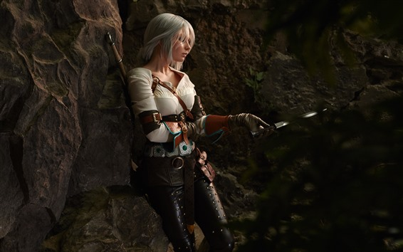 Wallpaper Cosplay girl, sword, The Witcher 3: Wild Hunt