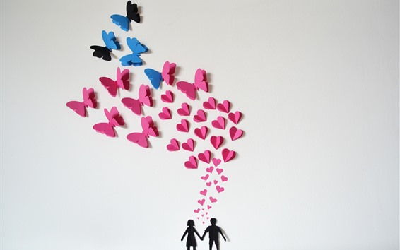 Fondos de pantalla Pareja, corazones de amor, mariposa, romántica.
