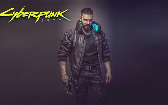 Fondos de pantalla Cyberpunk 2077, hombre, arma