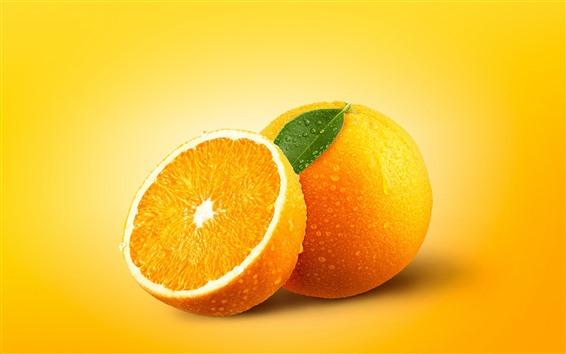 Fond d'écran Délicieuses oranges, fruits, gouttelettes d'eau