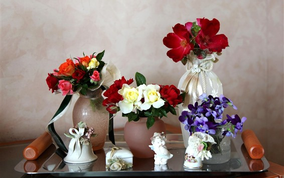 Wallpaper Different flowers, vase, still life
