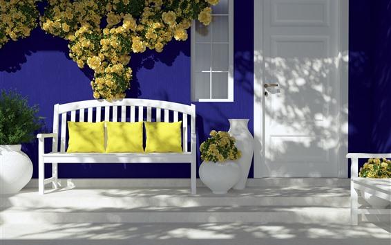 배경 화면 문, 벤치, 베개, 노란 장미, 햇빛