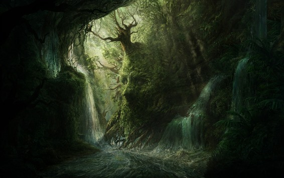 Wallpaper Forest, trees, waterfalls, face, creative picture
