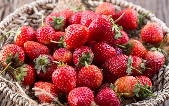 Wallpaper Fresh strawberries, basket, fruit