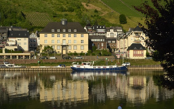 Wallpaper Germany, Cochem, town, house, river, ship