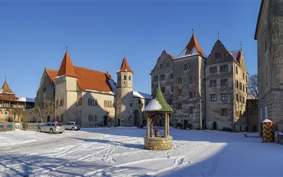Обои Германия, Гамбург, здания, замок, снег, зима