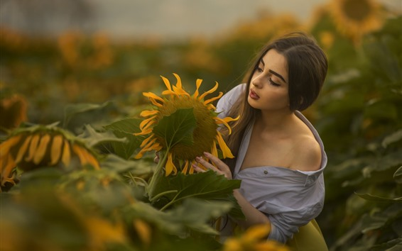 Wallpaper Girl and sunflower, morning