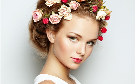 Wallpaper Girl, face, head decoration, roses
