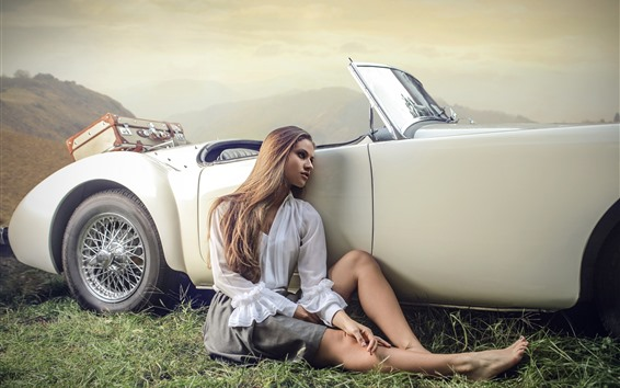 Wallpaper Girl sit at car side