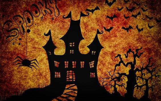 Wallpaper Halloween, castle, spider, bat, trees, silhouette