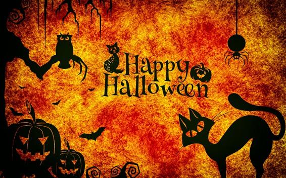 Fond d'écran Happy Halloween, nuit, chats, Hibou, araignée, citrouille
