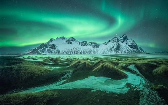 배경 화면 아이슬란드, 산, 잔디, 오로라, 별이 빛나는 밤