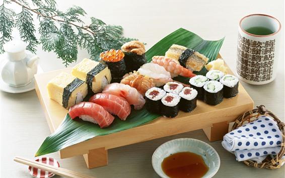 Wallpaper Japanese food, sushi, tea