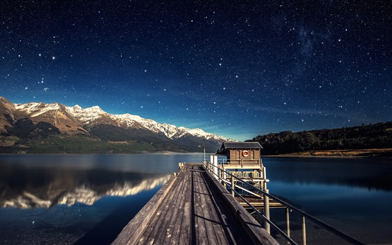 Wallpaper Lake, pier, hut, mountains, sky, stars