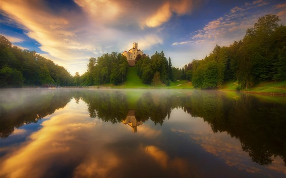 Fond d'écran Lac, reflet de l'eau, château, arbres, brouillard, matin