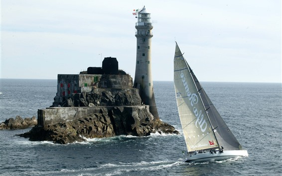 Wallpaper Lighthouse, sailing, sea
