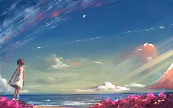 배경 화면 어린 소녀, 바다, 하늘, 연, 애니메이션