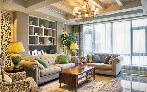 Обои Гостиная, диван, подушка, Светильники