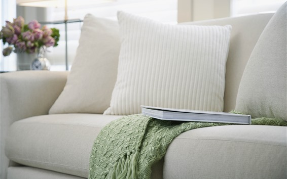壁紙 リビング、ソファ、枕