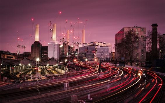 Wallpaper London, train station, light lines, city, buildings, UK