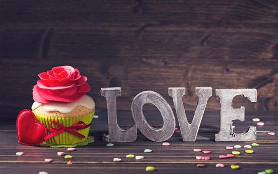 Papéis de Parede Amor, cupcake, rosa, corações de amor