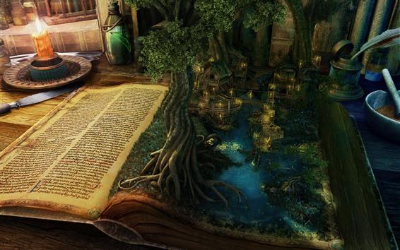 Fond d'écran Livre magique, arbres, lac, maisons, bougie, créatif