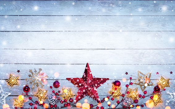 Wallpaper Merry Christmas, stars, berries, snowflake, decoration
