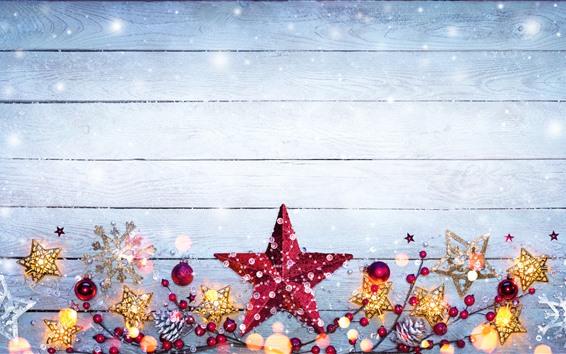 배경 화면 메리 크리스마스, 별, 딸기, 눈송이, 장식