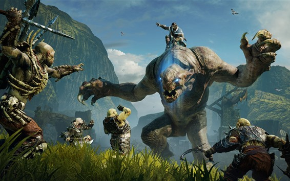 Wallpaper Middle-earth: Shadow of Mordor, monster, war