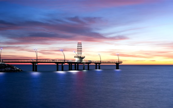 Wallpaper Morning, lighthouse, dock, sea, lights, clouds