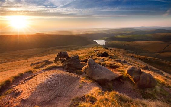 Wallpaper Morning, sunrise, mountains, slope, grass, river, fog