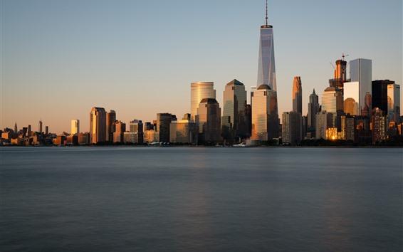 Wallpaper New York, skyscrapers, sea, city, USA